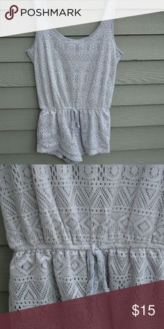 Urban Outfitters Crochet Romper Grey trim and geometric crochet. Great condition. Very short with a low scoop neck. Pins&Needles sub-brand. Urban Outfitters Dresses Mini