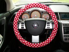 Red with White  polka dots Steering Wheel Cover by mammajane, $14.00