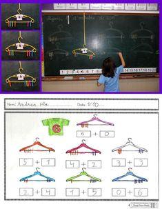 descomposición con pinzas Kindergarten Math Activities, Montessori Math, Preschool Math, Math Resources, Teaching Math, Year 1 Maths, Math Addition, Math Numbers, 1st Grade Math