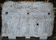 """Anglo-Saxon sculpture from Medeshamstede: the so-called """"Hedda Stone"""", kept in Peterborough Cathedral"""