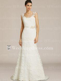 Lace Scoop robe de mari�e d�collet� avec Cap manches BC539N