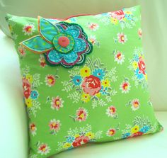 Cute pillow for a little girls room.  Grandma, isn't this adorable???  You could make these in all your spare retirement time!  They do look simple as long as you can sew.