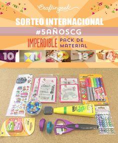 Sorteo Internacional #5AñosCG para celebrar que Craftingeek cumple 5 años de vida. Sortearemos 5 packs de material para manualidades. ¡Participa!