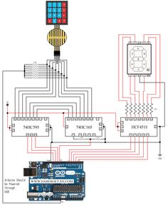 circuit to control a common cathode seven segment display using a button key matrix which is controlled using minimum number of digital output pins of arduino mega Arduino, Diy Electronics, Buttons, Display, Technology, Learning, Digital, Computers, Raspberry
