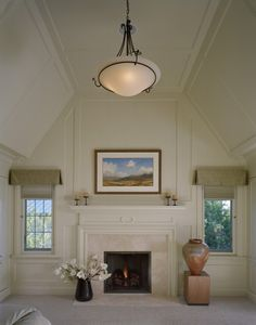 Master Bedroom Fireplace Design Ideas, Pictures, Remodel, and Decor - page 62 Vaulted Ceiling Bedroom, Vaulted Ceiling Lighting, Ceiling Trim, Ceiling Design, Vaulted Ceilings, Ceiling Ideas, Shiplap Ceiling, Ceiling Detail, Ceiling Chandelier