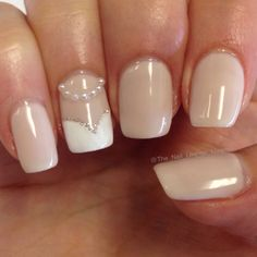 Bride wedding nail art design 3d pearls