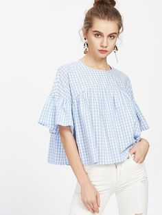 Shop Checkered Frill Sleeve Keyhole Back Babydoll Top online. SheIn offers Checkered Frill Sleeve Keyhole Back Babydoll Top & more to fit your fashionable needs.