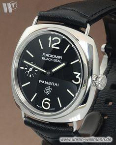 Panerai Radiomir Black Seal PAM00380, Herrenuhr, Stahlgehäuse, Lederarmband mit Stiftschließe, Handaufzug, verschraubte Krone, Chronometer