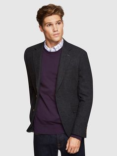 BLAKE WOOLBLEND HERINGBONE BLAZER   GREY DARK - Oxford Shop Mens Trousers Casual, Trouser Suits, Oxford Online, Herringbone Blazer, Slim Man, Workout Shirts, Mens Suits, Wool Blend, Work Wear