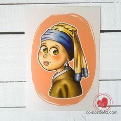 """Print """"Moça com Brinco de Pérola"""". Releitura de obra clássica. Enviamos para todo Brasil via carta registrada"""
