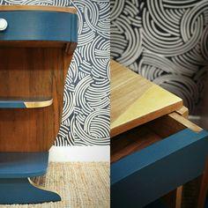 Chevets art déco bleu canard et or: bois et feuille d'or