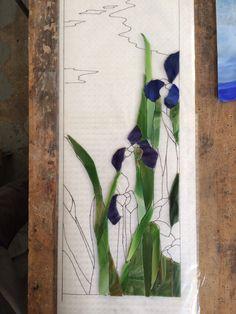 Iris mosaic in progress - Theodore Ellison Designs