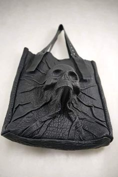 Leather SKULL tote by Dmitry Byalik NYC