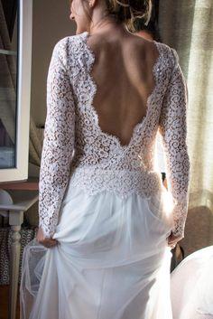 Robe de mariée Nanyn bohème chic champêtre composé, styliste couturière, créateur, sandrine Cibrario Vaucluse dos nus dentelle de calais
