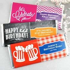 Birthday Hershey's Chocolate Bar Favors - Adult Collection. Sweeten up the celebration this year! Our Personalized Birthday Hershey®'s Milk Chocolate Bars are a tasty way to celebrate an exciting birthday milestone or express your gratitude to your guests for celebrating with you! Each individually wrapped Hershey®'s Chocolate Bar (1.55 oz.) arrives labeled with your personalized design. To personalize them, you can choose a fun pattern, a unique design icon, 2 coordinating colors, and 3…