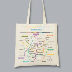 #fetedesmeres ou #anniversairemaman en #DIY - Tote bag personnalisé. Avec map your stories, créez une carte qui fait le portrait de votre maman sous forme de plan de métro personnalisé. Sur chaque ligne (expressions, péchés mignons,  hobbies etc), les arrêts deviennent vos souvenirs et anecdotes.