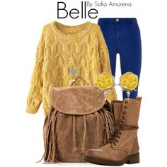 A warm and cozy Belle look. The bag screams Pocahontas a bit too much for me, but I'm digging the sweater and pants Disney Character Outfits, Cute Disney Outfits, Disney Princess Outfits, Disney Themed Outfits, Character Inspired Outfits, Disney Bound Outfits, Disney Dresses, Cute Outfits, Disney Clothes