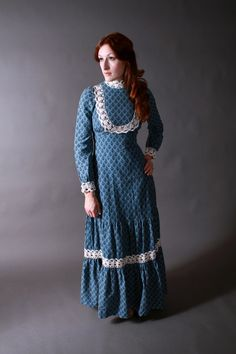 Vintage 1970s Dress - Gunne Sax Black Label Blue Prairie Boho Maxi Dress