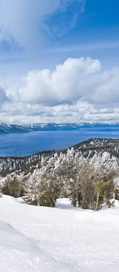 View from Heavenly Ski Resort. Lake Tahoe winter wonderland.