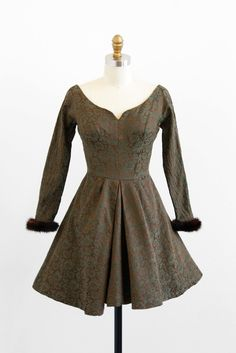 vintage 1940s dress / 40s dress / Green and Brown Ice Skating Dress with Mink Fur Cuffs