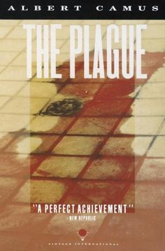 """From the back cover: """"A gripping tale of unrelieved horror, of survival and resilience, and of the ways in which humankind confronts death.  In a coastal town in Algeria the plague begins as a series of portents, unheeded by the people.  It gradually becomes an omnipresent reality; obliterating all traces of the past and driving its victims to almost unearthly extremes of suffering, madness and compassion."""""""