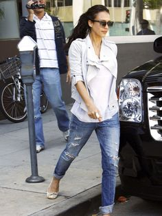 "Hot mamma ""Jessica Alba"" does streetwear so well! This jacket is bang on trend with the ripped up jeans, flats and simple top and no-fuss hair. She just has it!"