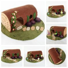 Hollow Log Fairy House Playscape Play Mat Felt Pretend Open-ended Make believe Small world fairytale cottage woodland animal storytelling by MyBigWorld2015 on Etsy