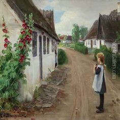 Summer Idyll In A Village With A Girl Standing In The Middel Of A Road oil painting reproduction by Hans Anderson Brendekilde - NiceArtGallery.com