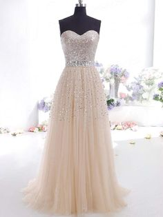 A-line Sweetheart Sleeveless Tulle Prom Dress With Rhinestone#DQ013