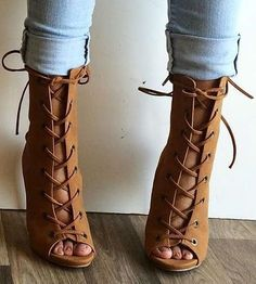 Head over Heels - Double Lace Up Open Toe Booties Bootie Sandals, Lace Up Sandals, Bootie Boots, Shoe Boots, Ankle Boots, Heeled Sandals, Gladiator Sandals, Dress Shoes, Shoes Heels