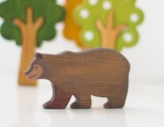 Wooden bear toy kids forest toys Wooden Animal toy Pretend play Woodland toy animals Animal figurine Learning toys for toddlers