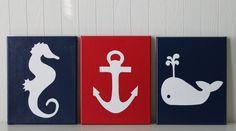 Nautical Nursery Decor Seahorse Nursery Anchor Whale Nursery Painting Modern Nautical Bathroom Navy Red Nautical Nursery
