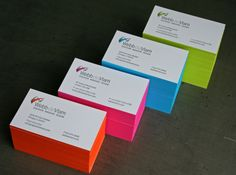 This week's inspirational article gonna be dedicated to neon business cards. Using a neon color in a businesscard can convey many types of feelings and emotions Embossed Business Cards, Letterpress Business Cards, Modern Business Cards, Business Branding, Business Card Design, Creative Business, Graphic Design Print, Tag Design, Painting Edges