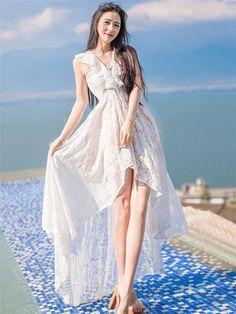 Sexy Summer Fashion V-neck Flouncing Dovetail Lace Beach Dress_Fcplaza.com