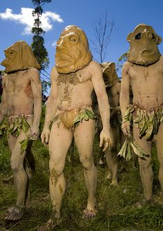 Papua New Guinea | The Asaro Mudmen come from just outside the town of Goroka in the Eastern Highlands Province of Papua New Guinea. The mud men covered their bodies with mud and become white. White colour represents death in the Papouasian culture | © Eric Lafforgue