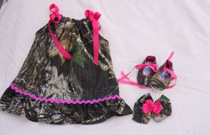 hunting Newborn Outfits | Baby girl camo gift set, MossyOak dress, MossyOak shoes, MossyOak hair ...