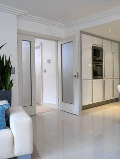 Gorgeous white glazed internal door pair. #whitedoors JB Kind bespoke door option