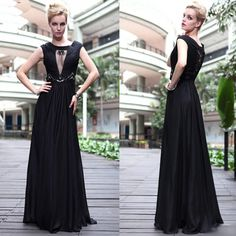 Sexy Women Black Pleated Long Winter Cocktail Ball Evening Dresses SKU-122150