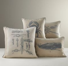 classy nautical pillows for a nursery chair/couch