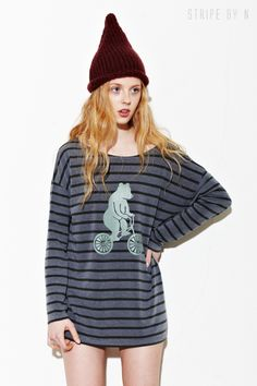 BEAR PRINT STRIPE T-SHIRTS BY STRIPE BY N