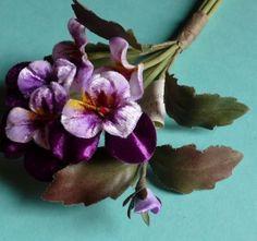 European Velvet Millinery Pansies in Royal Purple by MaryNotMartha