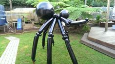 Scary 2m tall balloon spider  sculpture. www.balloons.com.au