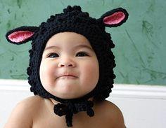 Baa Baa Black Sheep ORGANIC Hand-knit Cap