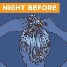 Olika bra tips på hur man gör en spiral hårnål, och använder mousse för att få volym. Undone Look, Curly Hair Styles, Natural Hair Styles, Sleep In Hair Styles, Leave In, Fitness Workouts, About Hair, Straight Hairstyles, Hairstyles To Sleep In