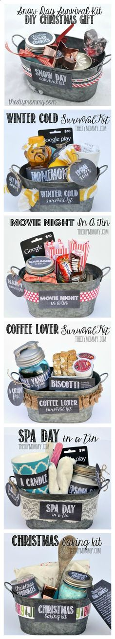 Gifts In A Tin ~ Some wonderful ideas! All 6 gift basket ideas come with free tags and labels, and a list of suggested items... Snow Day Survival Kit, Winter Cold Survival Kit, Movie Night in a Tin, Coffee Lover Survival Kit, Spa Day in a Tin, Christmas Baking Kithttp://thediymommy.com/a-gift-in-a-tin-christmas-baking-kit-gift/