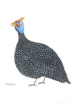Guinea Fowl, Watercolour, dots, guinea fowl print, guineafowl watercolour