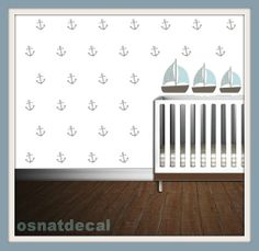 Wall Decal 73 Anchors With 3 Boats Home Decor Nursery Wall Sticker Color Pastel Gray Blue And Blue Pastel