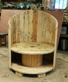 wood wire spools | Repurposed Wire Spool Ideas - Wooden cable spool and pallet wood chair
