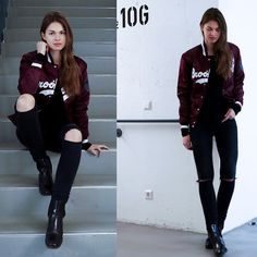 Get this look: http://lb.nu/look/7994458  More looks by Jacky: http://lb.nu/whaelse  Items in this look:  Majestic Athletic Brooklyn Bomber, Zara Jeans, Zara Chelsea Boots   #casual #sporty #street #modeblog #fashionblog #bomberjacket #majesticathletic #brooklyn #bordeaux