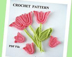 Crochet Pattern Tulip with Stem and Leaf Applique, PDF File, Spring
